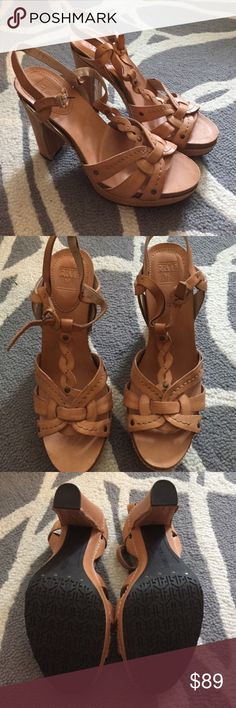 Frye Leather ✨ T Strap Chunky Platform Heel ✨ NEW Gorgeous soft leather heels by Frye Company. Tan leather, sexy T Strap style with  trendy block heel. Platform is 1.5 inch,  total heel height is 5 inch. These are brand new, never worn. Frye Shoes Heels