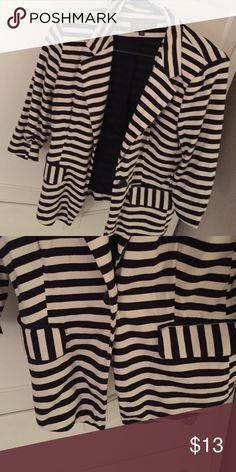 Striped Blazer! Striped blazer with pockets and button in the middle ! Jackets & Coats Blazers