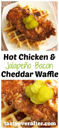 Hot Chicken and Jalapeño Bacon Cheddar Waffle is a unique twist on the Nashville classic. A crispy fried boneless chicken breast, served on top of a spicy jalapeño, bacon, and sharp cheddar waffle with a fiery maple syrup sauce.