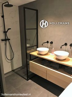 Home - Hollemans Homesteel Loft Bathroom, Bathroom Goals, Bathroom Ideas, Inspiration Wall, Bathroom Inspiration, Patio Design, House Design, Double Vanity, Modern Design