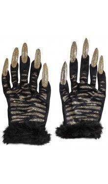 Glitzer Handschuhe mit Nägeln - gold