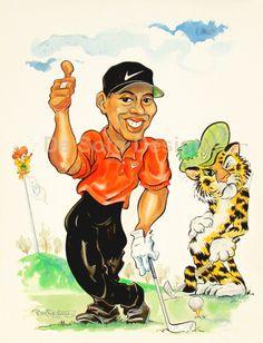 Tiger Woods caricature illustration.