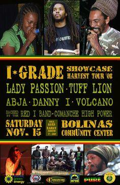 I Grade Records showcase flier #Abja, Danny I, Tuff Lion, Lady Passion, Volcano