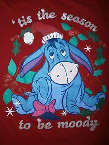 Eeyore Christmas T Shirt Tis Season to Be Moody Holiday Womens ...
