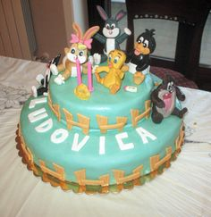 "Torta ""Baby Looney Tunes"" con decorazioni in pdz"
