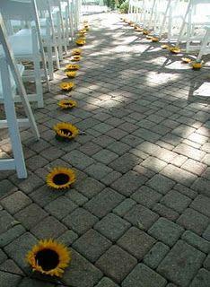 #Sunflower lined #wedding #aisle