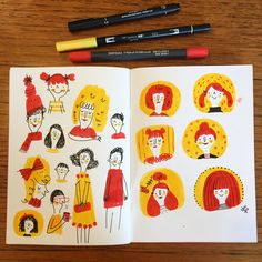 I find it good to practice drawing in three colours. ❤️ I never really plan out what I'm doing in my sketchbook as I just like to see what happens. If you swipe ⬅️⬅️⬅️you can see some process photos from these pages and I've also posted a little bit of video in today's story. You should be able to tell what pens I have used from the first photo. ❤️