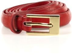 Gold Buckle Skinny Leather Belt - Lyst