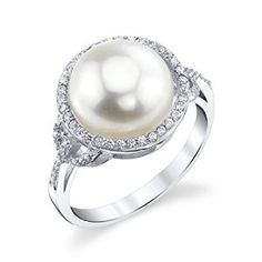 11mm White Freshwater Cultured Pearl & Crystal White Button Ring available at joyfulcrown.com