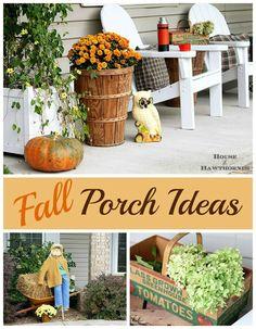 Lots of cute ideas for your fall porch - an eclectic, vintage, farmhouse fall porch - via houseofhawthornes.com