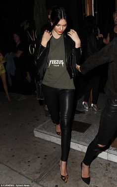 Lady in leather: Kendall Jenner sported a stylish black ensemble for a night out in Los An...