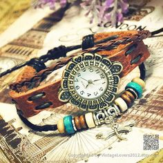 Women Watches Bracelet Leather Wrist Watch by VintageLovers2012, $9.99
