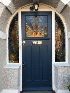 A gallery of traditional front door designs by Bespoke Front Door. Handmade, Victorian front doors suppied and fitted in London Front Door Steps, Front Door Porch, House Front Door, Glass Front Door, House Doors, Front Door Decor, Front Door Design, Front Door Colors, 1930s Doors