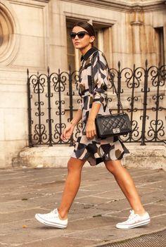 dress: Paul & Joe (au/w 14-15) sneakers: Converse All Star bag: Chanel Boy sunglasses: Dior