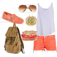 Summer Outfit for out running around. Super cute! Love the color of the shorts and the Toms