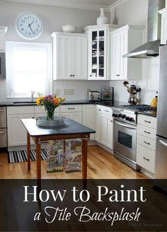 How to paint a tile backsplash.