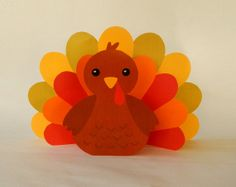 Instant Download   Paper Turkey Centerpiece   DIY Printable Thanksgiving  Party Decorations Papercraft