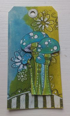 Would be good fold-out tag for some journaling. chartreuse and tourquoise...mushrooms and flowers...tag...