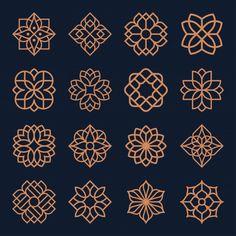 Ornament logo and icon design set. Design Set, Shape Design, Icon Design, Logo Design, Geometric Mandala Tattoo, Geometric Logo, Geometric Flower, Flower Vintage, Vintage Floral