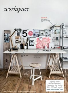 office space - check out the cool wood piece with the pictures pinned on it!