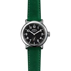 Shinola The Runwell Green Leather Strap Watch, 36mm (7.436.000 IDR) ❤ liked on Polyvore