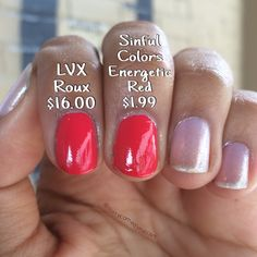 DUPE TEST: Sinful Colors Energetic Red ($1.99) vs LVX Roux ($16.00). Both are opaque in one coat but Roux has a thicker, smoother formula. Through the camera they appear identical, but Red is a bit warmer and brighter.