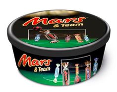 ringing together five favourites in one memorabilia tub, Mars & Team includes Mars Chocolate brands: Mars, Twix, Snickers, Bounty, and Milky Way.