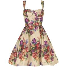 Tea Cup Fifties Dress ($380) ❤ liked on Polyvore featuring dresses, vestidos, short dresses, floral, women, short floral dresses, short ivory dress, floral-print dresses and nude dresses