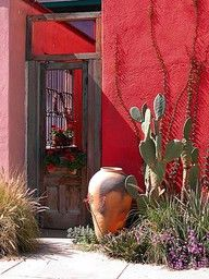 A prickly pear cactus and a rustic pot against a hot hot hot red wall: all of the colors of home!