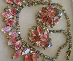 SALE Pink Aroura Pressed Glass Demi Parure by 3438nancy on Etsy