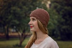 Brown Retro Crochet Beanie Hat Made of Pure Cotton - Women's Summer Lace Yarn Cap - Hat is Available in a 36 colors - Kitty's Eyes Hat