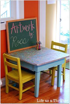 splatter topped art table for kids by Life as a Thrifter