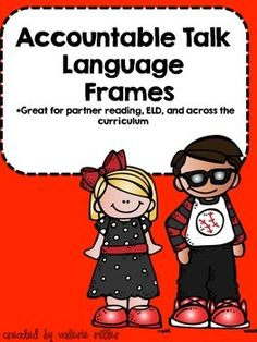 These accountable talk language frames/prompts are great for students to use in partners, small groups, or whole class. They are excellent for teaching discourse across the curriculum.This set contains 20 language frames. I made a red, black, and white set for possible wall display, a black and white version, and a blank version.