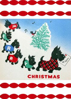 1940s Vintage Christmas Card with Scottish Terriers  | Fine Art America via Munir Alawi