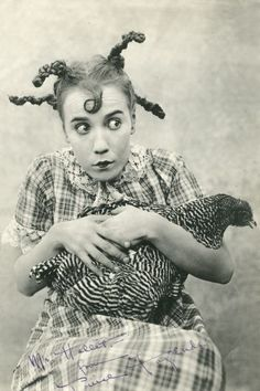 Vintage Early Picture Odd Chicken is Mine Girl Strange Spooky Weird Crazy Photo Reprint Vintage Photographs, Vintage Images, Old Pictures, Old Photos, Creepy, Scary, Chicken Lady, Chicken Pen, Chicken Chick