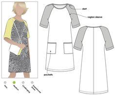 Mary Shift Dress Sewing Pattern By Style Arc.    Baseball shirt dress pattern