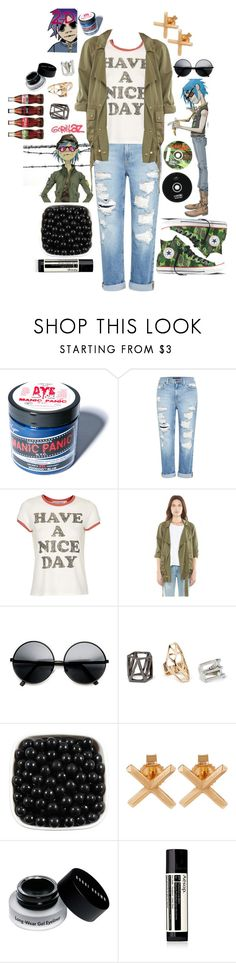 """""No, I never work out. Constant stress and panic and lack of sleep and various food intolerances seem to keep me quite thin."" ~2-D"" by the-duck-life ❤ liked on Polyvore featuring Apex, Manic Panic NYC, CDLP, Genetic Denim, Converse, Project Social T, Current/Elliott, ZeroUV, Forever 21 and Eva Fehren"