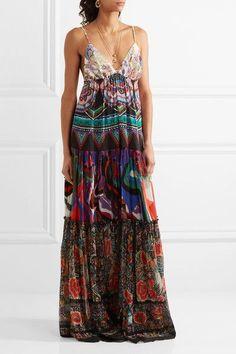Roberto Cavalli - Printed Silk-georgette Maxi Dress - Purple - IT48
