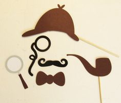 Photo Booth Props Detective 6pc Prop Set by PimpYourParty on Etsy