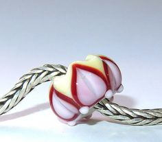 Luccicare Lampwork Bead  Happy Lotus   Lined with Sterling