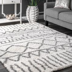 "$108 nuLOOM Soft and Plush Geometric Drawings Shag Area Rugs, 5' 3"" x 7' 6"", Grey"
