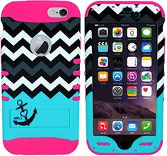 "myLife Stylish Design and Layered Protection Case for iPhone 6 Plus (5.5"" Inch) by Apple {Passion Pink + Cyan Blue"" Chevron Anchor Survivor with Kickstand"" Three Piece SECURE-Fit Rubberized Gel} myLife Brand Products http://www.amazon.com/dp/B00PBF7AVG/ref=cm_sw_r_pi_dp_t95yub1E3GNF7"