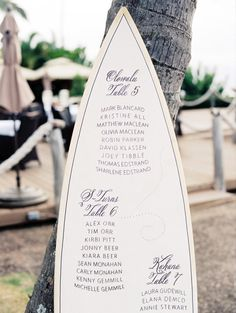 A surf board seating chart for a beach theme wedding. Source: projectwedding.com #seatingchart #beachwedding #weddingsigns