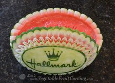 top view of Nita's Hallmark watermelon bowl Home And Family Tv, Watermelon Basket, Hallmark Homes, Watermelon Carving, Food Decoration, Fruit And Veg, Top View, Food Design, Food Art