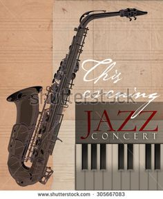 Saxophone and piano concert poster illustration - stock photo