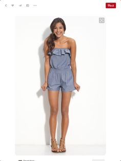 Adorable - may not be able to pull off the strapless portion but this is so cute! Chambray strapless shorts romper with ruffle. Nude gladiator sandals. Stitch Fix Shoes Summer 2016. Stitch fix