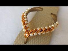 YouTube Beaded Jewelry, Beaded Bracelets, Beaded Crafts, Glass Slipper, Beading Tutorials, Beaded Flowers, Flip Flops, Pearl Necklace, Swarovski