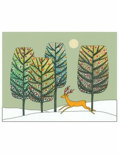 10 x 8 Art Illustration Print Green Gold Brown Trees door caitlihne