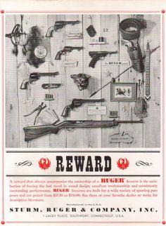 1962 Ruger Rifle Pistol Revolver Reward Vintage Gun Ad   eBay