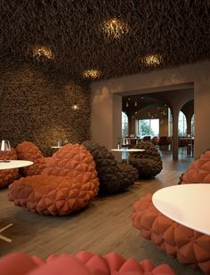 Design team of Serghii Makhno and Vasiliy Butenko havecompleted the interior for a restaurant in Kiev